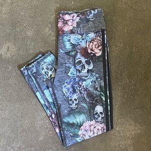 Skulls & Flora Yoga Pants
